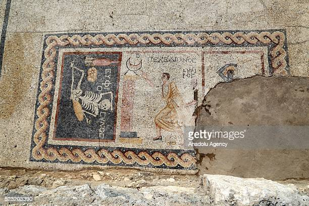 """Year-old mosaic, discovered during excavations, saying """"Be cheerful, enjoy your life"""" in Ancient Greek language is seen in southern Hatay province of..."""