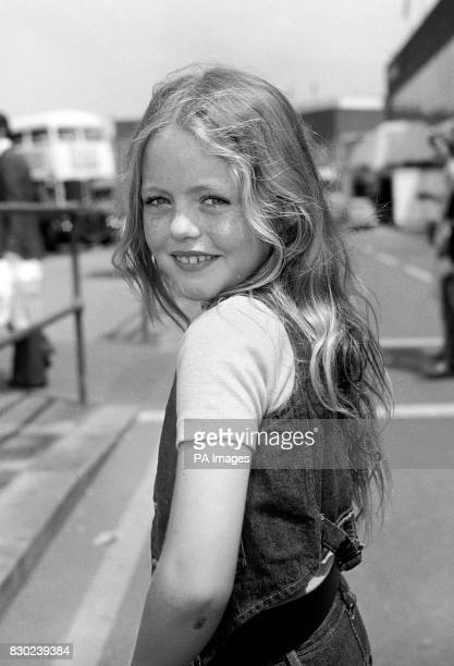 8 yearold Patsy Kensit before leaving Heathrow Airport in London for Moscow in Russia to attend the premiere of her new film The Blue Bird of...