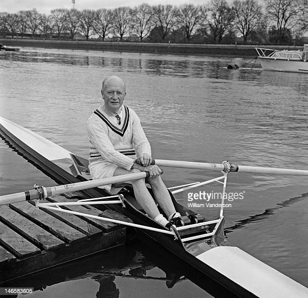 75 yearold rower Lawrie Fraser in training on the Thames on the eve of the over 70's Head of the River Race 25th April 1969 His boat was designed by...