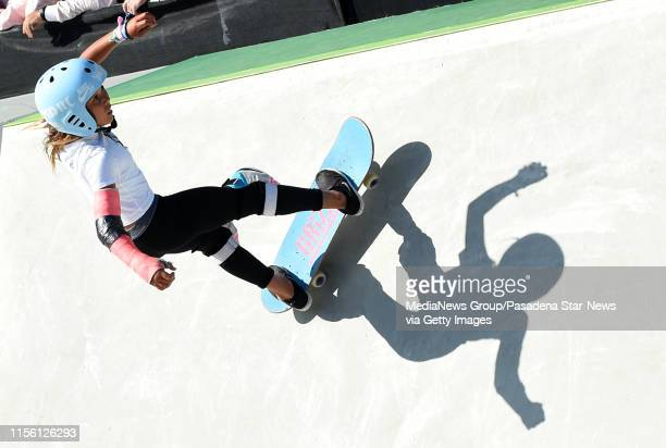 10 yearold Sky Brown of Great Britain competes in the Women's Park semi finals during the Dew Tour at the Long Beach Convention Center on Thursday...