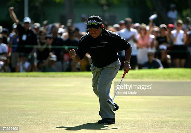 16 yearold Tadd Fujikawa of Honolulu reacts to a birdie putt on the 9th green during the final round of the Sony Open on January 14 2007 at Waialae...