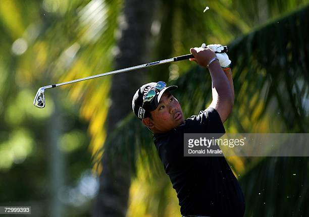 16 yearold Tadd Fujikawa of Honolulu tees off the 7th hole during the final round of the Sony Open on January 14 2007 at Waialae Country Club in...