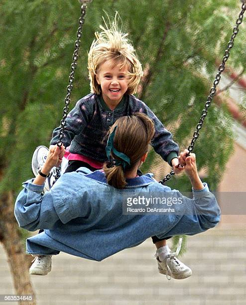 5–year–old Tiffany swinging with her mother Diana Brunner at Moorpark Park Diana moved to Moorpark from West Los Angeles in 1997 We enjoy out here...