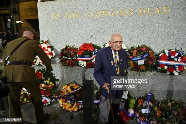 96 yearold Walter 'Wally' ScottSmith who for 78 years was the Chief Cenotaph Attendant attends the Anzac Day Dawn Service in Sydney on April 25 2019...