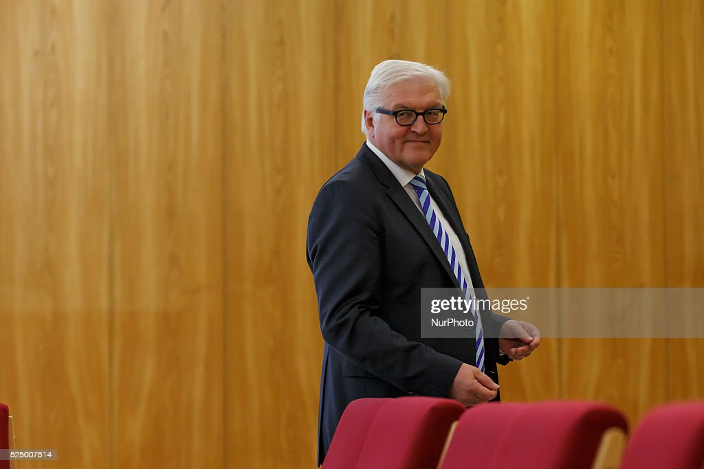 German Foreign Minister Steinmeier gives a statement in the today's Bismarck's Office in Berlin : News Photo