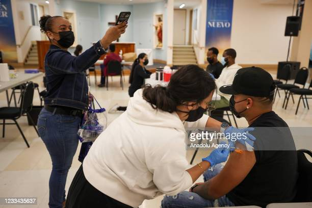 Years and older New Yorkers are getting vaccinated at the St. Anthony of Padua Roman Catholic Church in Bronx of New York City, United States on June...