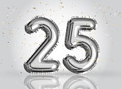 25 years anniversary. Happy birthday joy celebration.Silver balloons & confetti for greeting card
