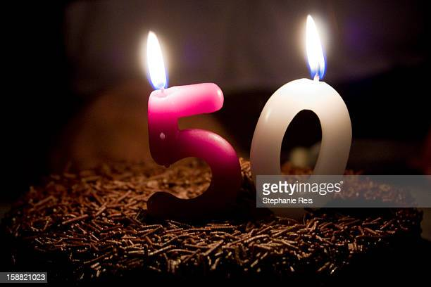 50 years candle - number 50 stock photos and pictures