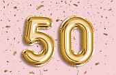 50 Years golden Foil Balloon anniversary logotype.