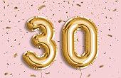 30 Years golden Foil Balloon anniversary logotype.