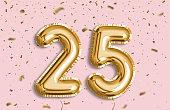 25 Years golden Foil Balloon anniversary logotype.