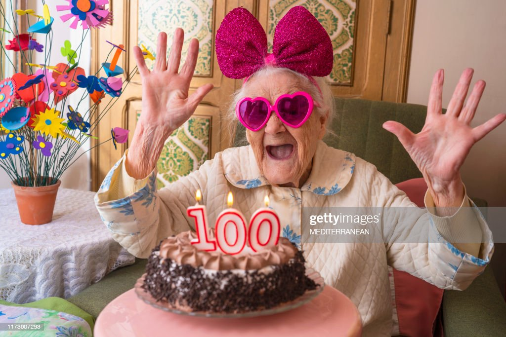 Stupendous 100 Years Old Birthday Cake To Old Woman High Res Stock Photo Personalised Birthday Cards Bromeletsinfo