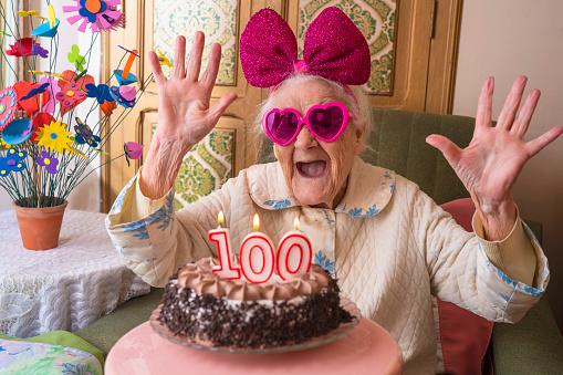 100 years old birthday cake to old woman 1173607293