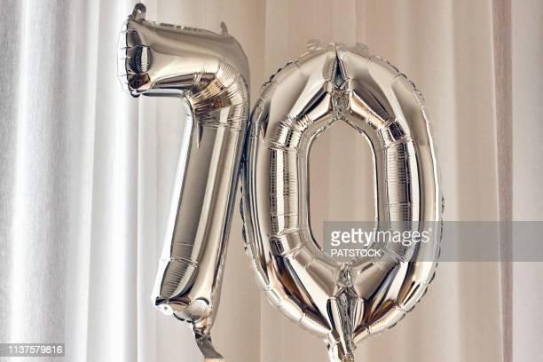70 years old birthday silver balloon
