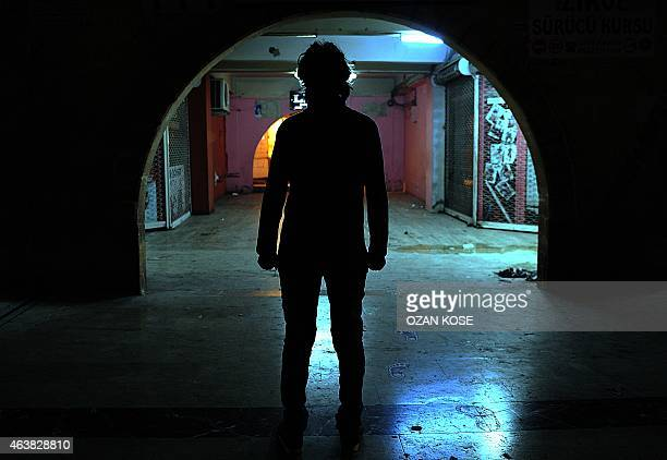 A 14 years old former Islamic State fighter Khaled who doesn`t want show his face poses after interview on January 242015 in Sanliurfa south east...
