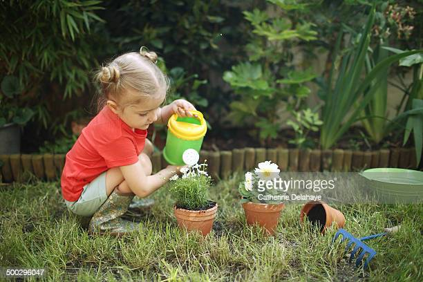A 3 years old girl gardening