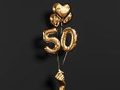 50 years old. Gold and black Number 50th anniversary, happy birthday congratulations