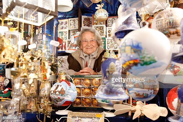 82 years old Liselotte Groemer is seen in her gift shop prior to the opening ceremony of the Christmas Market on November 28 2008 in Nuremberg...