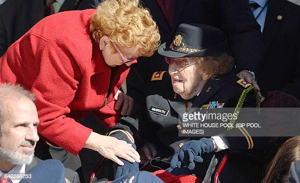 108 years old LTC Luta Mae Cornelius McGrath the nation's oldest living female WW II Veteran attends a ceremony at Arlington National Cemetery...