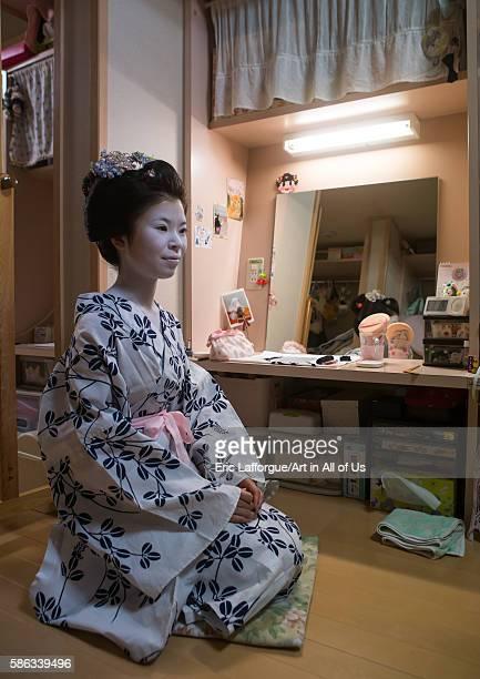 Years old maiko called chikasaya in her geisha house, kansai region, kyoto, Japan on May 27, 2016 in Kyoto, Japan.
