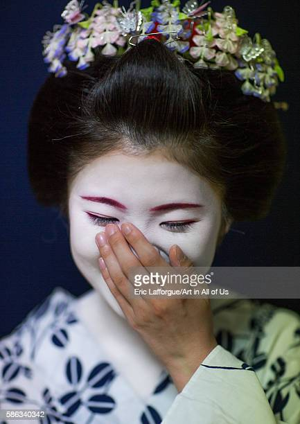 16 years old maiko called chikasaya laughing kansai region kyoto Japan on May 27 2016 in Kyoto Japan