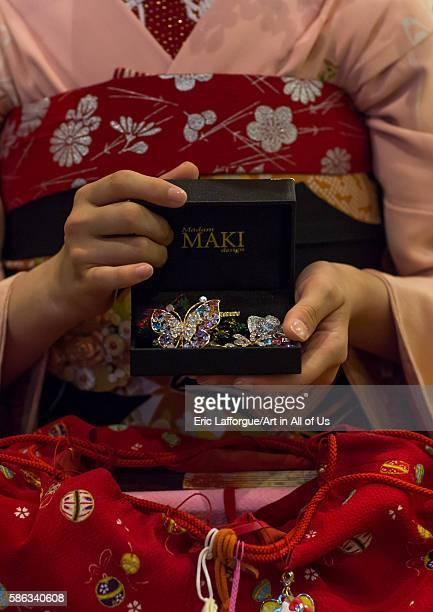 16 years old maiko called chikasaya showing her brooches kansai region kyoto Japan on May 27 2016 in Kyoto Japan