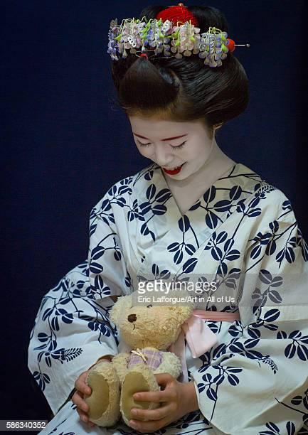 16 years old maiko called chikasaya with her teddy bear kansai region kyoto Japan on May 27 2016 in Kyoto Japan