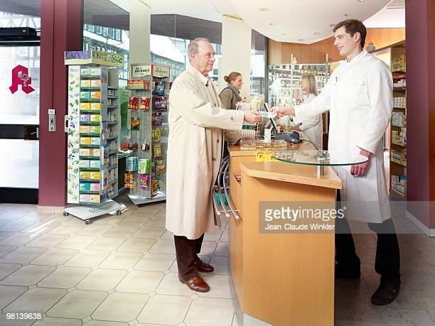 70 years old male paying in pharmacy