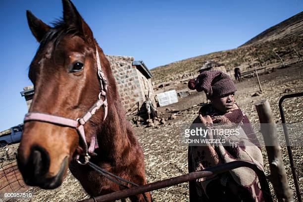 16 years old Mosotho jockey Mokikeng Tladi stands next to his horse KodiaMalla on July 15 2016 in Semonkong Horseracing in the mountain kingdom of...