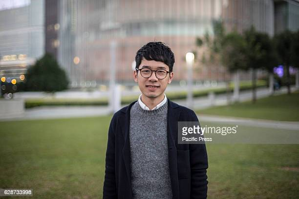 23 years old Nathan Law Kwunchung Hong Kong youngest lawmaker and chairperson of political party Demosisto poses outside the legislative council in...