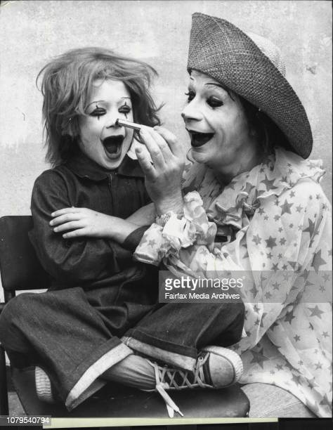 Years old Normie Townen of Glebe becomes a clown for a day when he met mime artist Lindsay Kemp, the clown, this week, prior to the opening of...