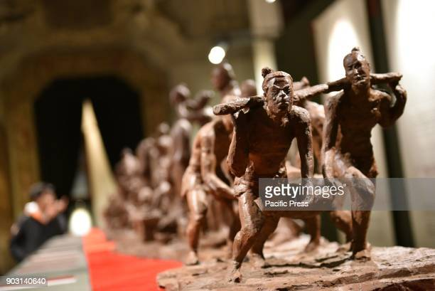 2000 years old relics from China in the heart of Napoli 170 large terracotta warriors all lifesize are showed in Napoli in the nave of the Basilica...