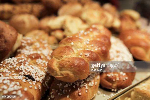 Yeast braids in the display of a bakery on February 06 2017 in Berlin Germany