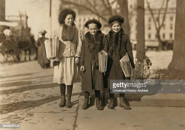 Yedda Welled 11 years Rebecca Cohen 12 years and Rebecca Kirwin 14 years Portrait Selling Newspapers Hartford Connecticut USA Lewis Hine for National...