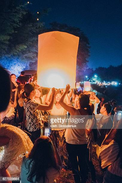 yee peng festival in chiang mai - loi krathong stock photos and pictures