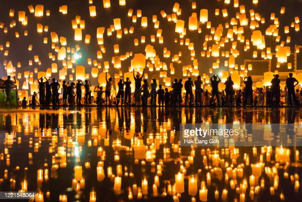 yee peng lanna lantern festival - lantern festival stock pictures, royalty-free photos & images