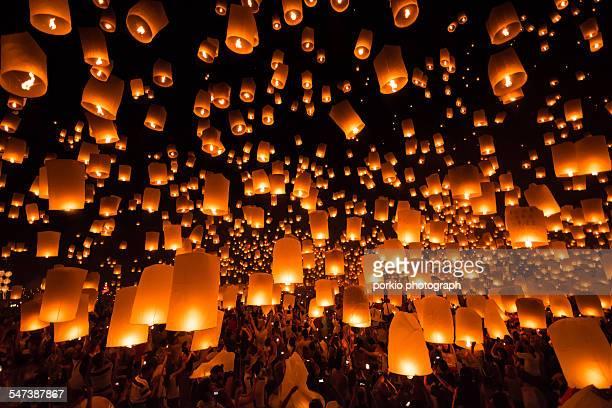 yee peng(yi-peng) lantern festival,thailand - yi peng stock pictures, royalty-free photos & images