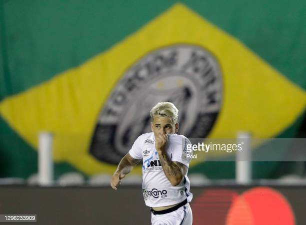 Yeferson Soteldo of Santos celebrates after scoring the second goal of his team during a semifinal second leg match between Santos and Boca Juniors...