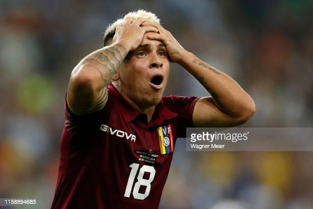 Yeferson Soteldo of Venezuela reacts during the Copa America Brazil 2019 quarterfinal match between Argentina and Venezuela at Maracana Stadium on...