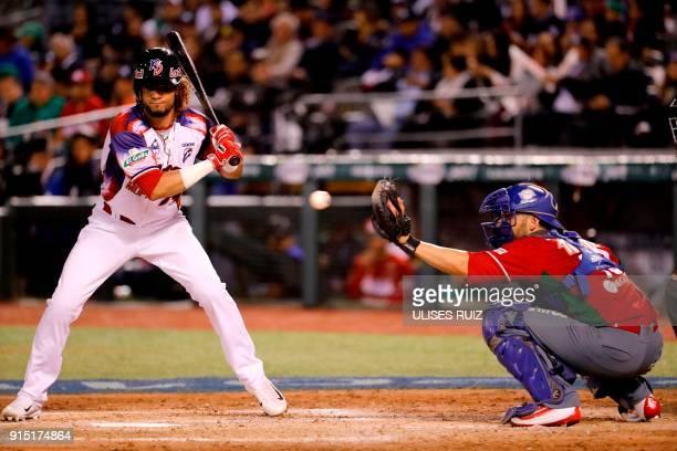 Yefri Perez of Aguilas Cibaenas of Republica Dominicana bats against Tomateros de Culiacan of Mexico during the Caribbean Baseball Series at the...