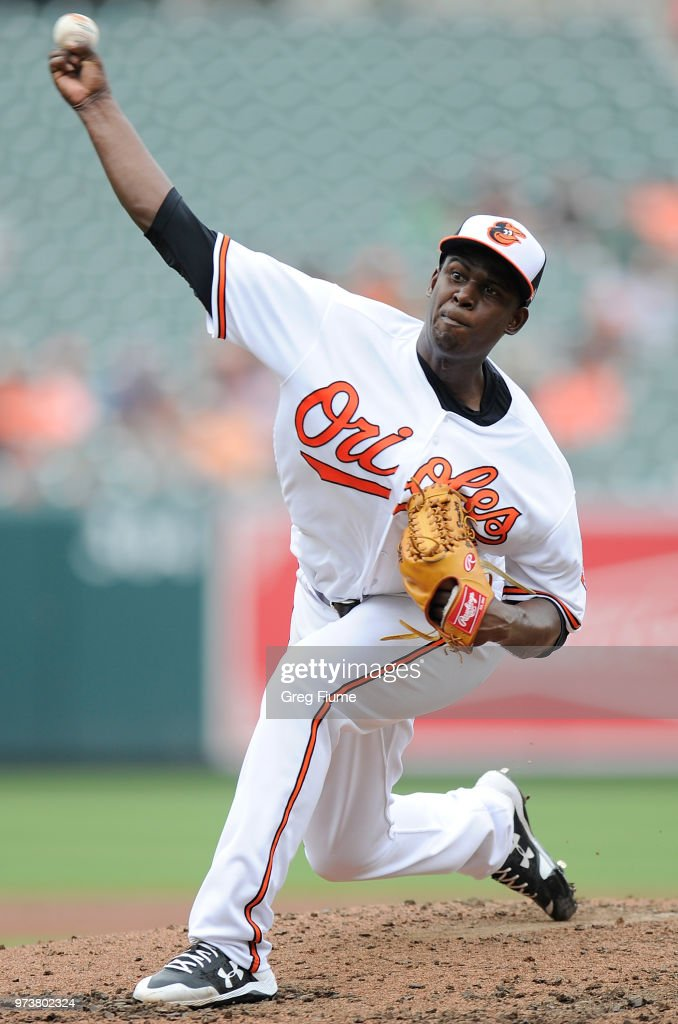 Yefry Ramirez #32 of the Baltimore Orioles pitches in the third inning of his major league debut against the Boston Red Sox at Oriole Park at Camden Yards on June 13, 2018 in Baltimore, Maryland.