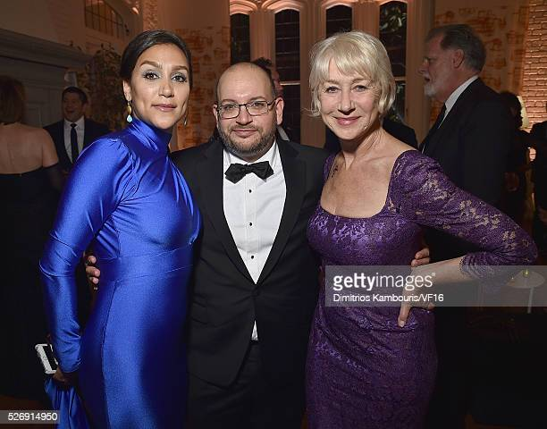 Yeganeh Salehi Jason Rezaian and Helen Miren attend the Bloomberg Vanity Fair cocktail reception following the 2015 WHCA Dinner at the residence of...