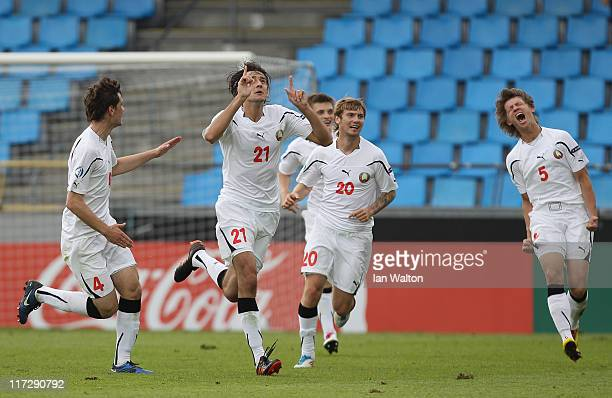 Yegor Filipenko of Belarus celebrates scoring the winning goal during the UEFA European U21 Championship third place playoff match between Czech...