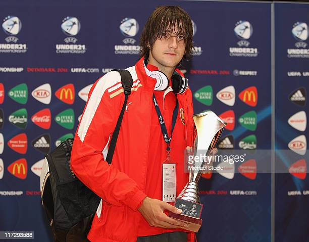 Yegor Filipenko of Belarus receives the Carlsberg Man of the Match award during the UEFA European Under21 Championship 3rd/4th Play Off match between...