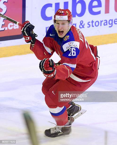 Yegor Korshkov of Russia celebrates after scoring 21 during the 2016 IIHF World Junior Ice Hockey Championship semifinal match between Russia and USA...