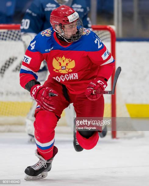 Yegor Sokolov of the Russian Nationals skates up ice against the Finland Nationals during the 2018 Under18 Five Nations Tournament game at USA Hockey...