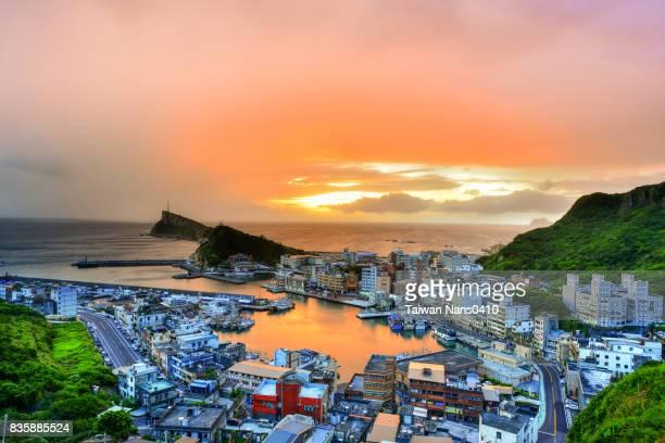 Yehliu fishing port, red sky