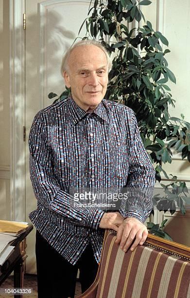 Yehudi Menuhin poses for a portrait at Violist-Dirigent Amstel Hotel on May 13 1989 in Amsterdam, Netherlands.