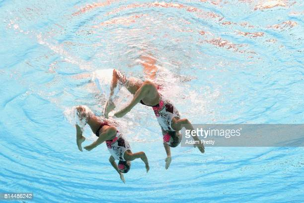 Yekaterina Nemich and Alexandra and Nemich of Kazakhstan compete during the Womens Synchronised Duet Technical Preliminary round on day one of the...