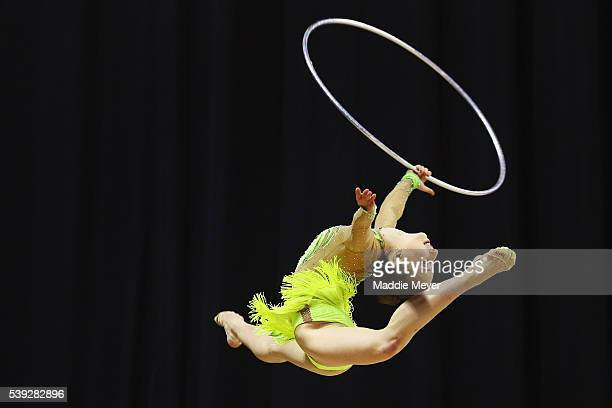 Yekaterina Ronin performs with the hoop during the Senior Elite 2016 USA Gymnastics Championships Day 1 at the Dunkin' Donuts Center on June 10 2016...